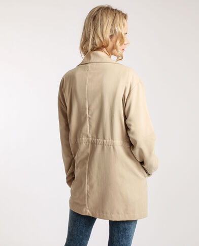 Trench fluide beige ficelle