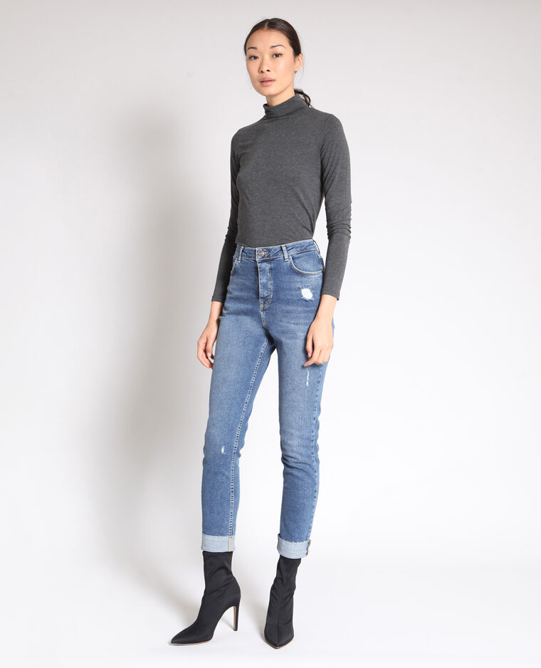 Jean slim taille haute bleu denim
