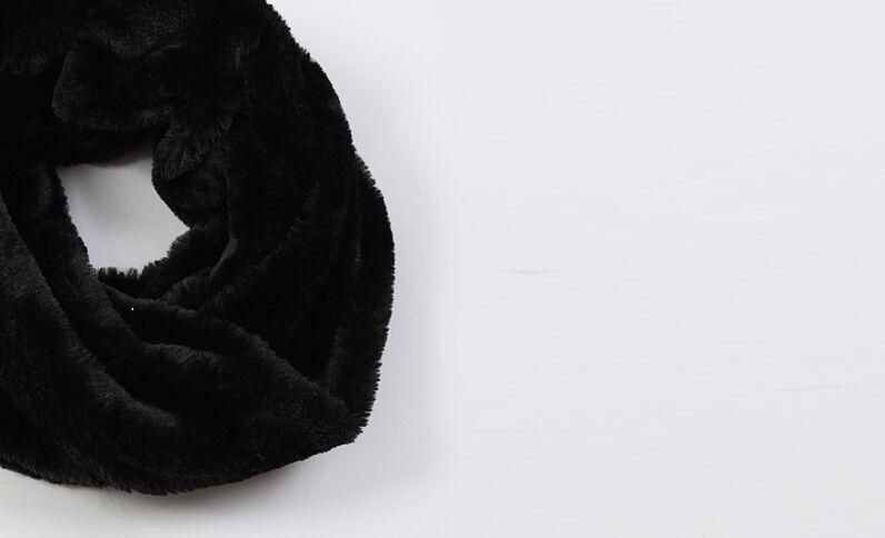 Col en fausse fourrure noir
