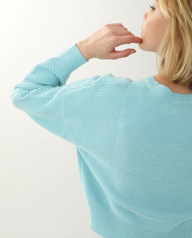 Pull maille reliefée bleu aqua - Pimkie