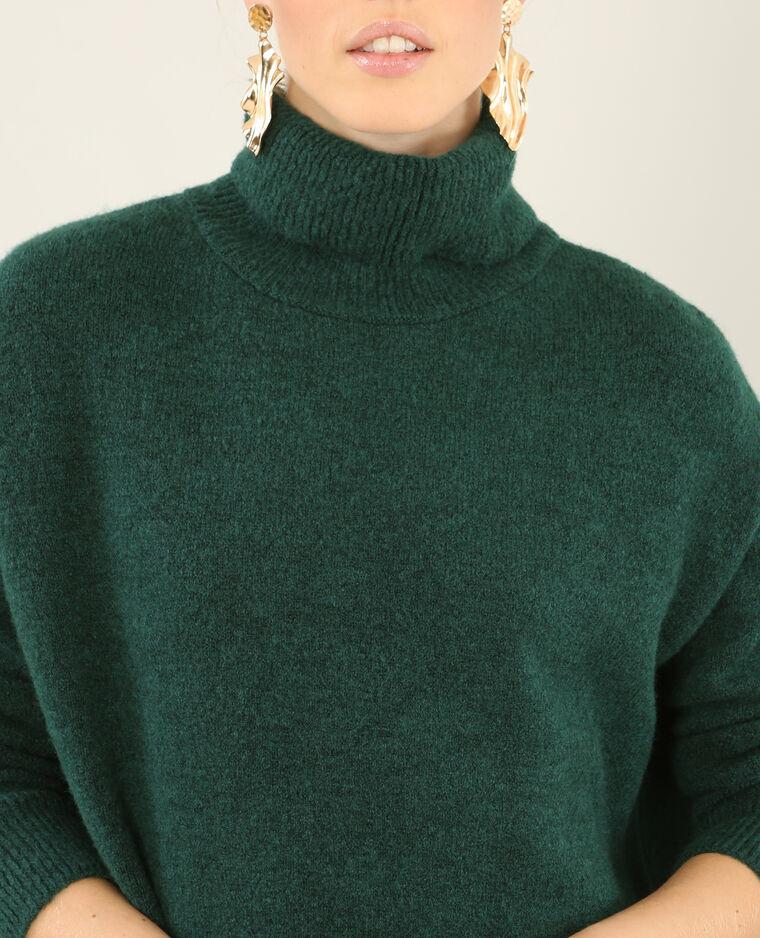 Robe pull col roulé vert