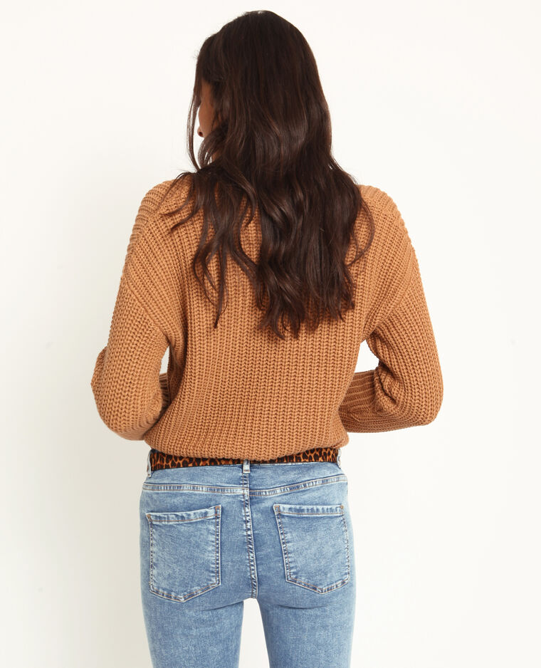 Pull à grosse maille marron
