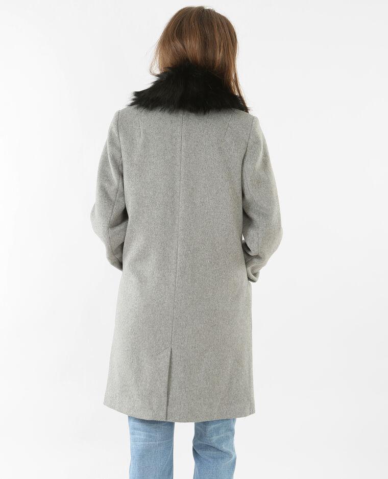 Manteau laine mélangé gris chiné