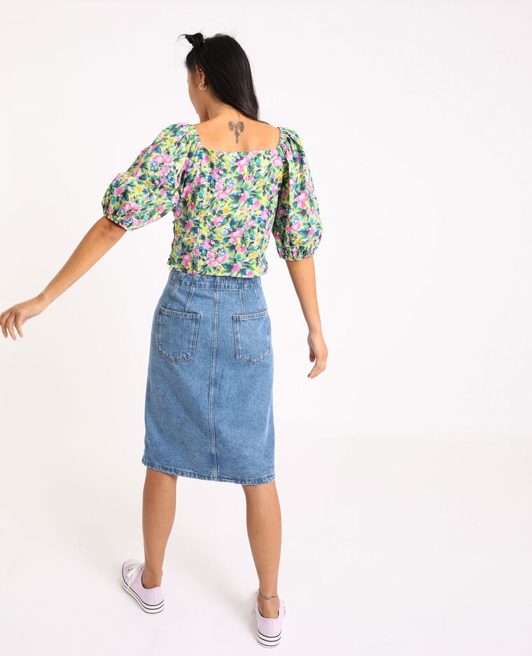 Jupe midi en jean bleu - Pimkie