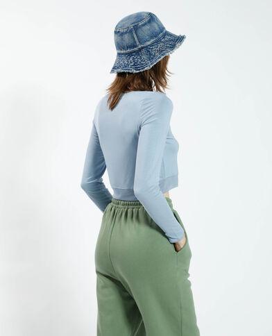 T-shirt cropped avec tulle bleu - Pimkie
