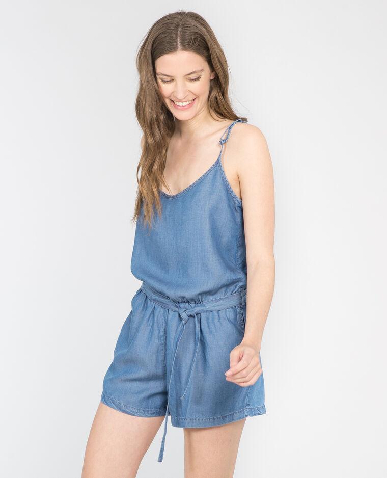 Combi-short en jean fluide bleu denim