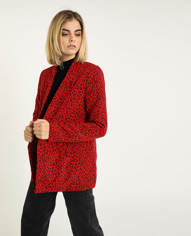 Veste blazer léopard rouge