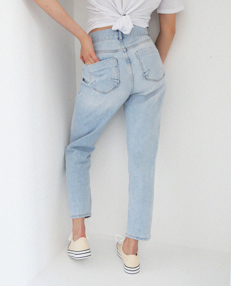 Jean straight high waist bleu clair