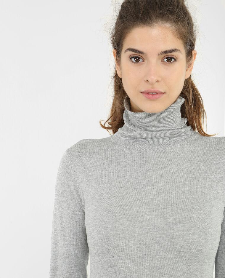 17f9b514ed6 Robe pull col roulé gris chiné - 782033830J08