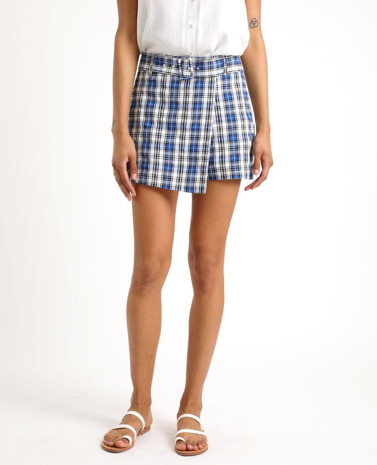 Jupe short à carreaux bleu