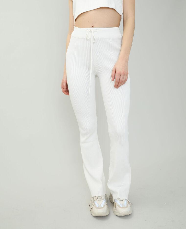 Pantalon tricot blanc cassé - Pimkie