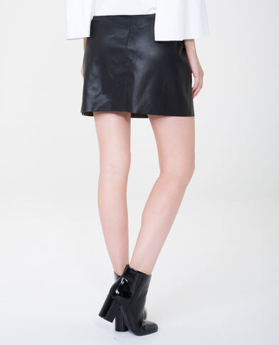 Mini jupe en simili cuir volantée noir - Pimkie