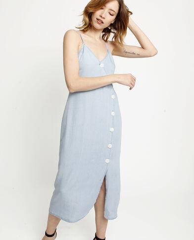Robe longue à boutons bleu clair
