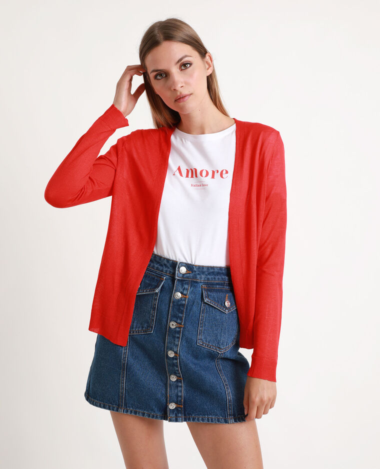 Gilet maille fine rouge
