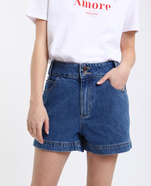 Short en jean high waist bleu brut