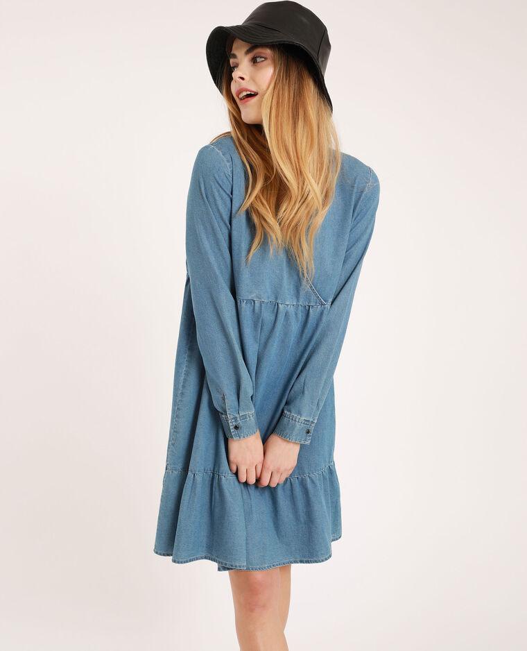Robe à col V bleu
