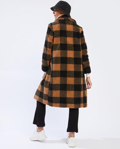 Manteau long sherpa marron - Pimkie