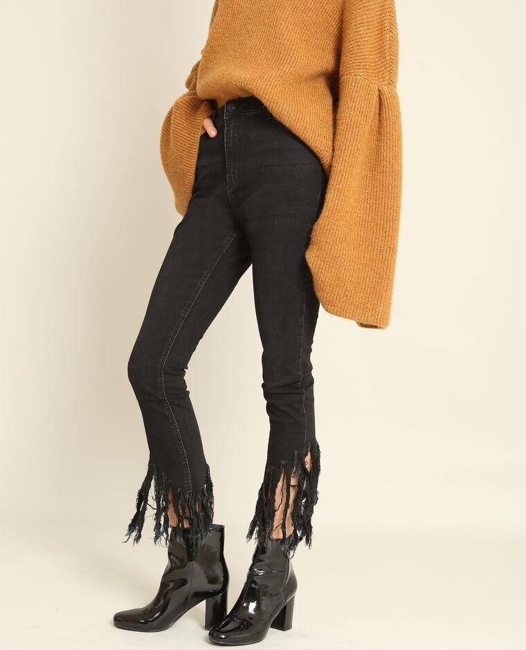 Jean skinny à franges noir