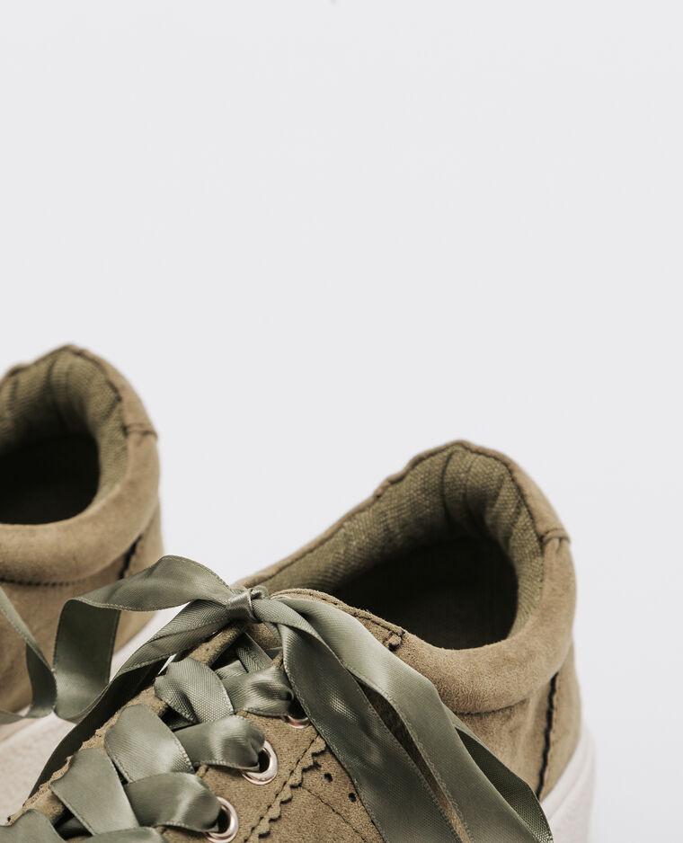 Baskets lacets satinés kaki