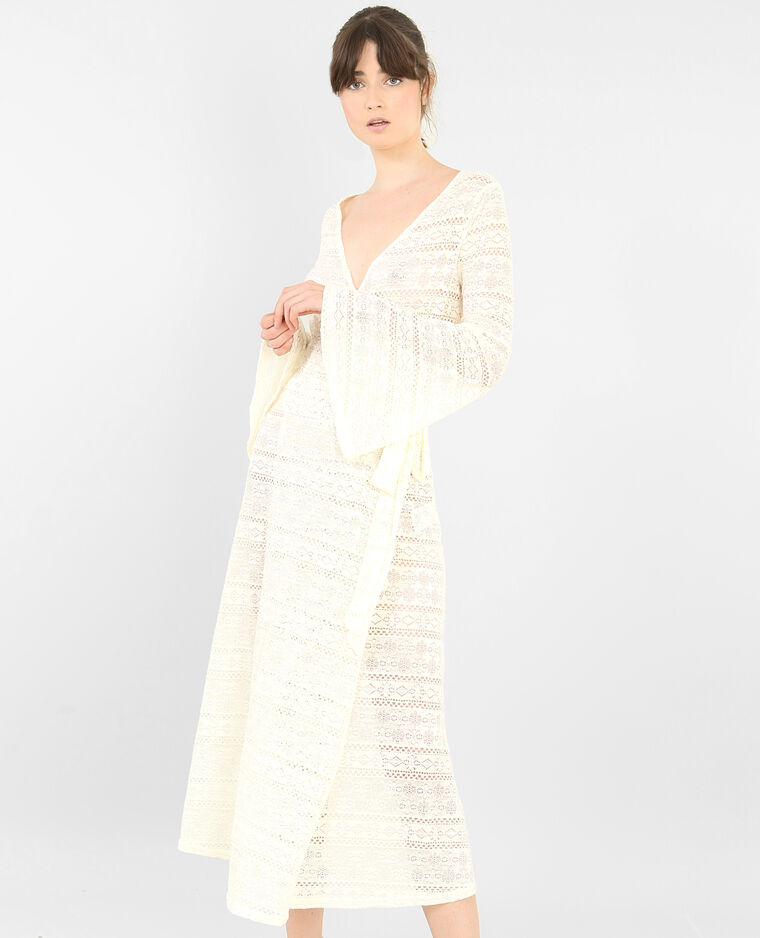 ab1afaa001c Robe longue en dentelle blanc cassé - 780694915A09