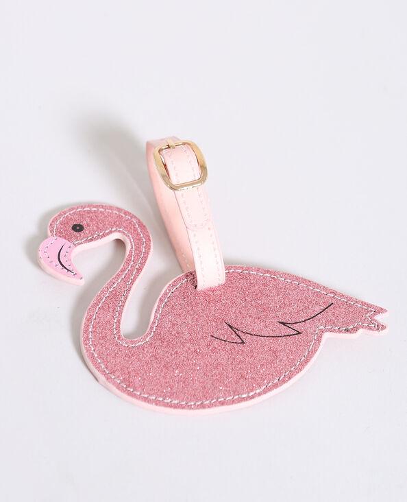 Etiquette pour bagage flamant rose rose