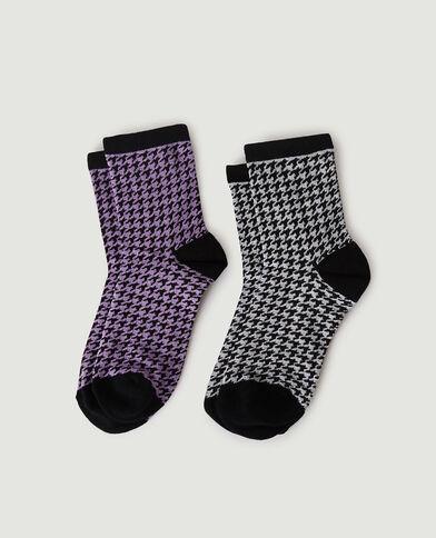 Lot de 2 paires de chaussettes à motifs pied-de-poule violet - Pimkie