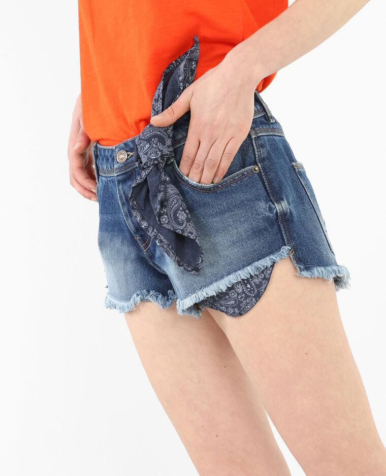 6664b64bc2 Mini short en jean bandana bleu brut - 140203696A06 | Pimkie
