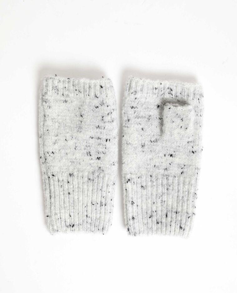 Mitaines en maille chinée gris