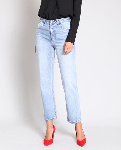 7893588dcc609 Jean droit taille haute bleu