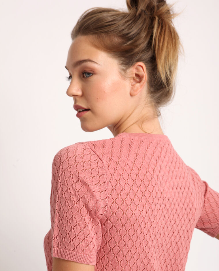 T-shirt ajouré rose