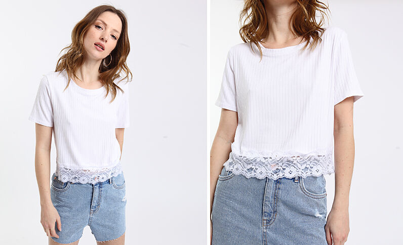 T-shirt dentelle blanc