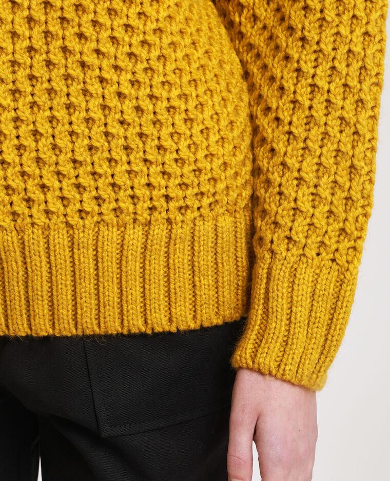 Pull point fantaisie jaune moutarde
