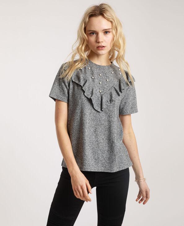 T-shirt à perles gris perle