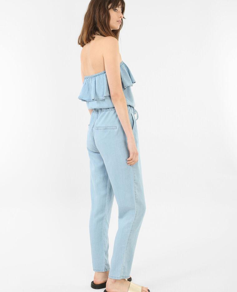 Combi-pantalon à volants bleu