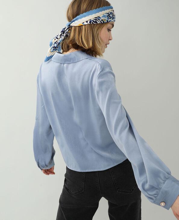 Chemise satinée bleu