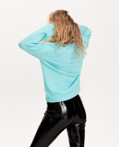 Pull manches bouffantes turquoise