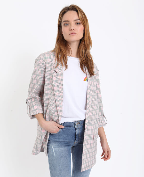 Blazer à carreaux rose