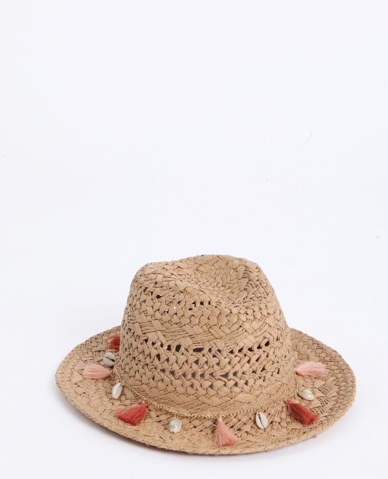 Chapeau en paille à bijoux beige taupe