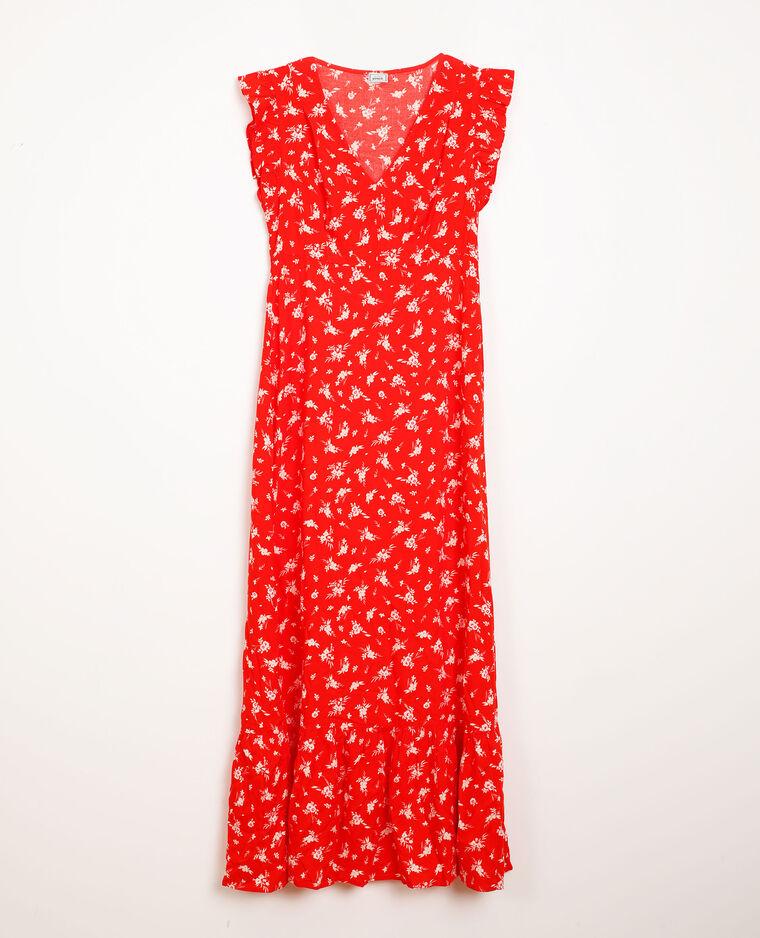 Robe longue à fleurs rouge - Pimkie