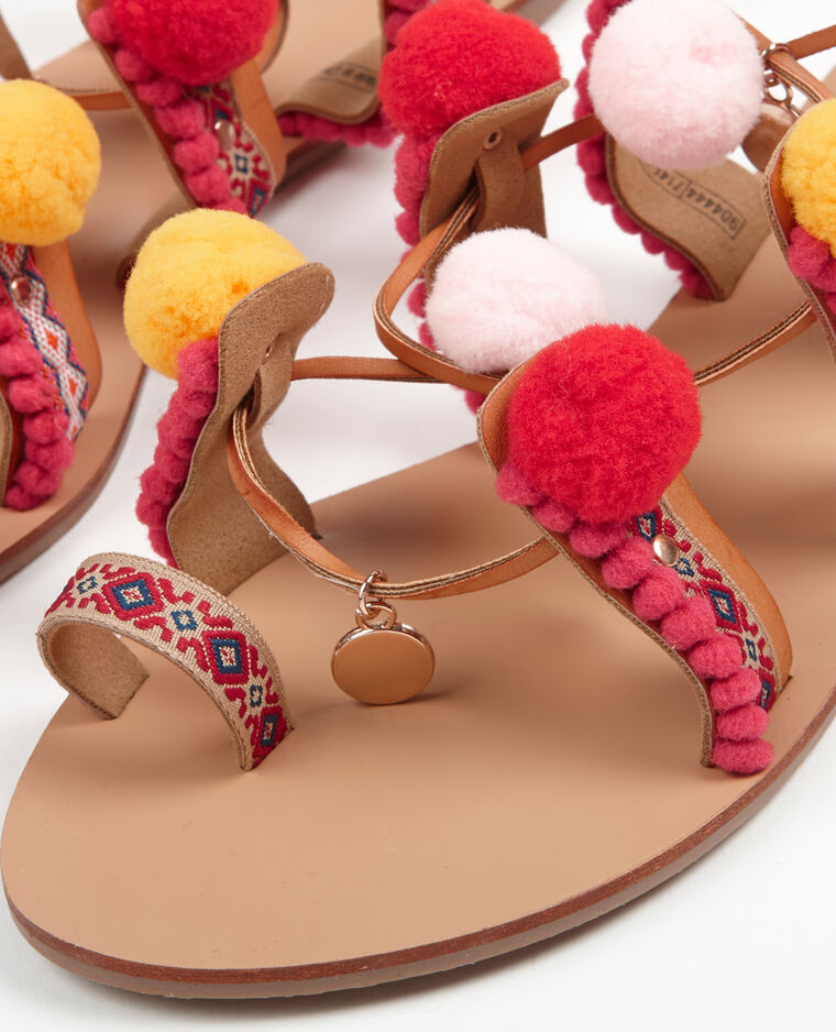 Sandales ethniques à pompons camel