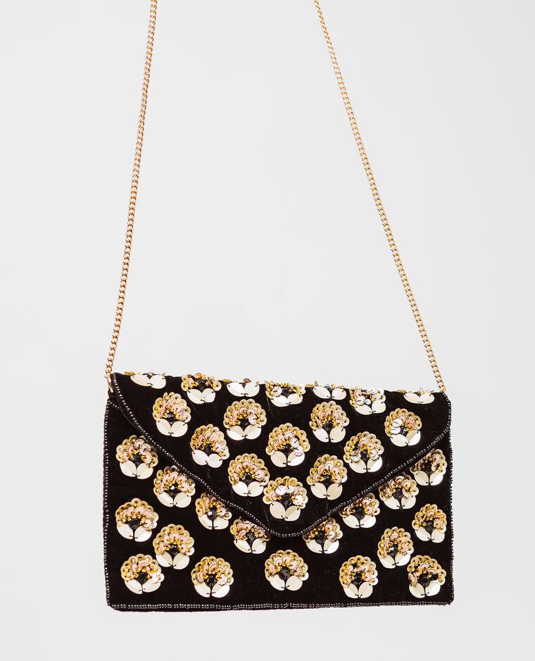 Sac pochette à fleurs noir
