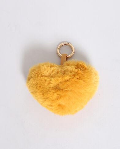 Porte-clés cœur moutarde