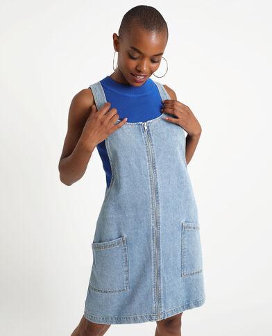 Robe chasuble en jean bleu brut