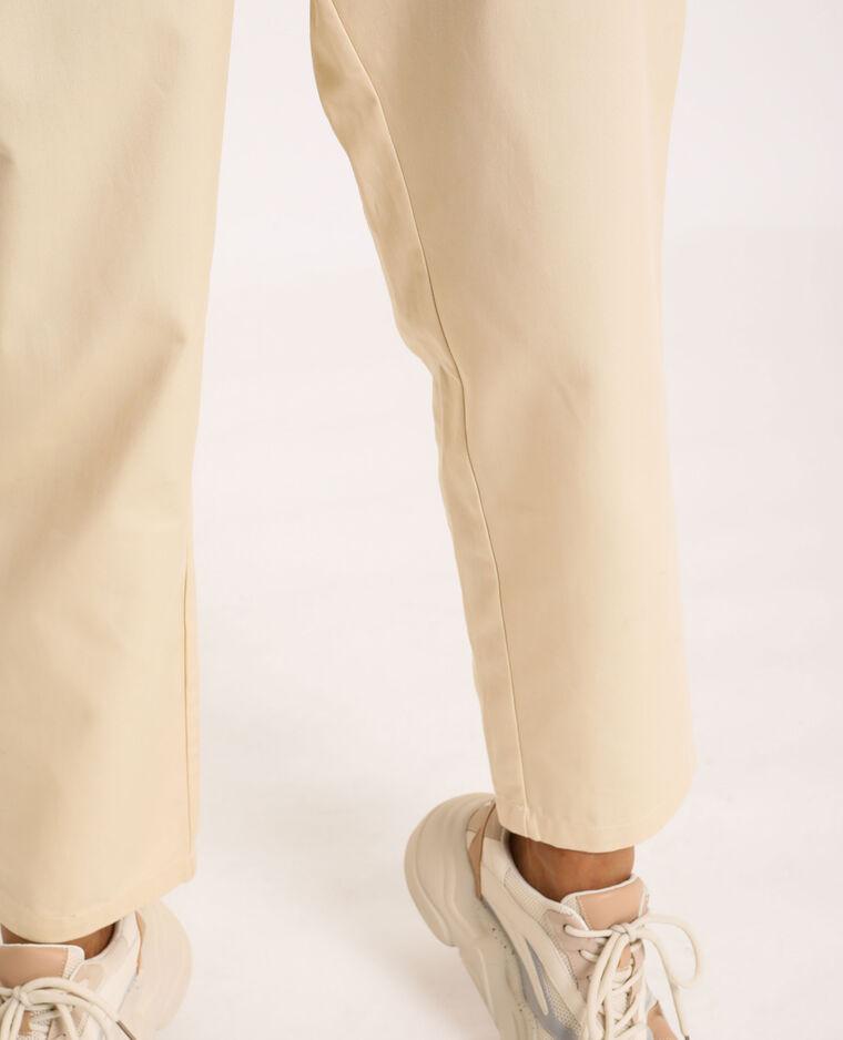 Pantalon city high waist beige ficelle
