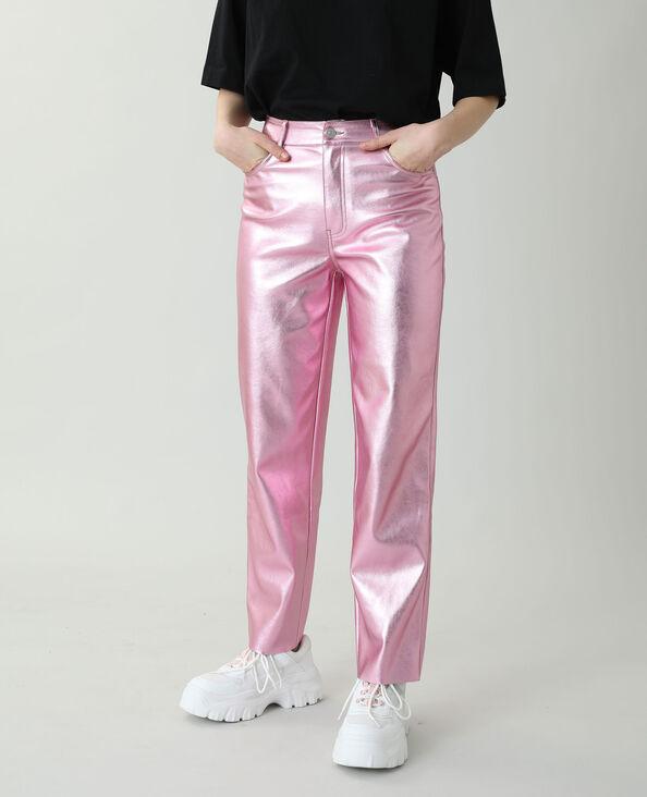 Pantalon droit en cuir synthétique rose - Pimkie