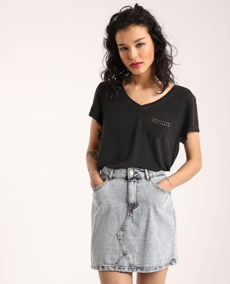 T-shirt à col V noir - Pimkie