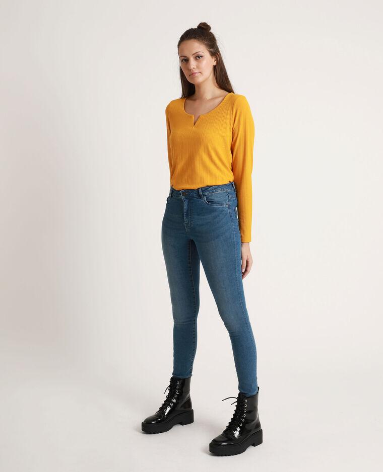 T-shirt côtelé jaune