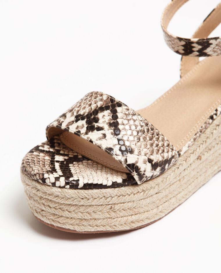 Sandales plateforme python beige ficelle