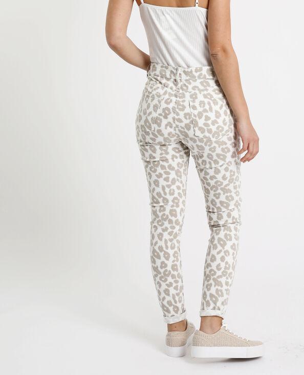 Pantalon skinny léopard ecru