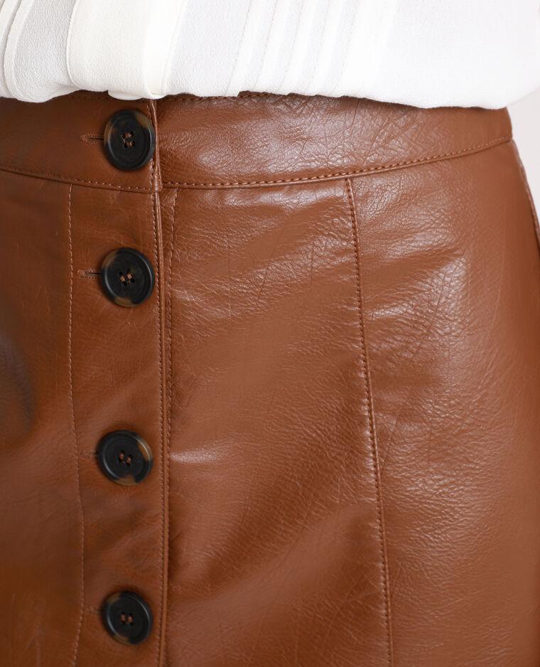 Jupe en simili cuir marron